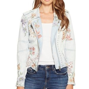 Blank NYC Floral Embellished Denim Jacket